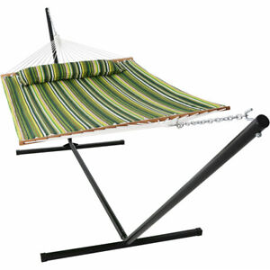 Sunnydaze 2-Person Quilted Spreader Bar Hammock and 15-Foot Stand - Melon Stripe