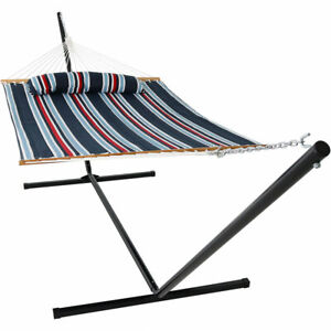 Sunnydaze Quilted Spreader Bar Hammock and 15-Foot Stand - Nautical Stripe