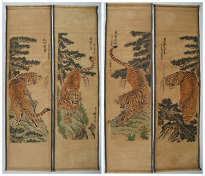 Chinese painting scroll Tiger Jiang Tingxi 4 tigers Antique paintings $23.96
