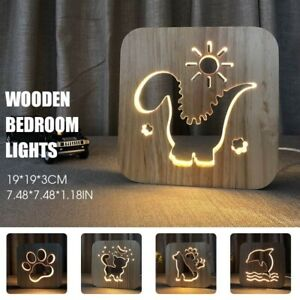 Cartoon Wooden 3D LED Light Table Night Lamp Shadow Luminaria Gift Bedroom Decor