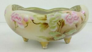 Large Vintage Nippon Bowl Footed Hand Painted Pink Roses Gold Banding Dotted