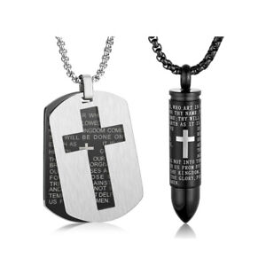 Men Lord's Prayer Stainless Steel Dog Tag Bullet Cross Pendant Necklace Chain