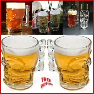 2x 18 oz Shaped Stable Heavy Base Glass Skull Face Drinking Beer Cocktail Mugs