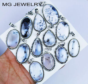 200 PCs Natural Dendritic Opal Pendants Lot Gemstone 925 Sterling Silver Plated