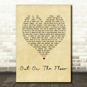 Out On The Floor Vintage Heart Song Lyric Print