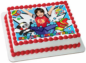 EDIBLE Ryan's World Cake Topper Birthday Party Wafer Paper 1/4 Quarter Sheet