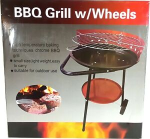 Charcoal BBQ Grill Barbecue with Wheels Red Black Portable