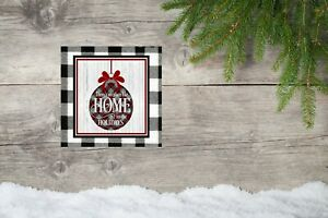 10x10 Black Buffalo Check Home for the Holidays Christmas Canvas Print