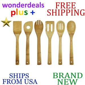 *New* OCEANSTAR 6pc Piece Natural Bamboo Complete COOKING UTENSIL SET KT1286