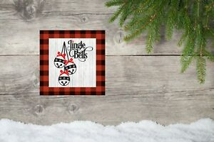 10x10 Red Plaid Jingle Bells Christmas Canvas Print