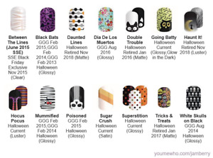 Halloween ~ Jamberry nail wraps ~ current & retired HALF sheets ~ revised 10/16