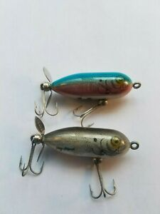 TWO VINTAGE TINY TORPEDO LURES- GUANINE FINISH - COLORS AS SHOWN