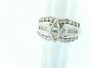 1.25ct Elegant White Natural Diamond Ring 10K White Gold Engagement Ring Sz 6.25