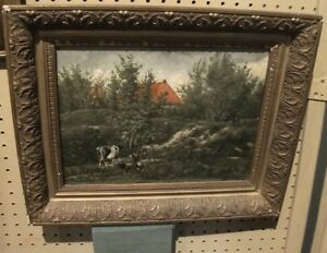 Listed Artist Headed Home Antique Cows Landscape Oil Painting Animal estate $1550.00