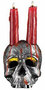 Spooky Scary Halloween Skull Candle Set Includes Blood Red Drip Candles