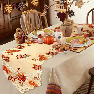 Embroidered Fall Table Runner Handmade Maple Leaves Table Cover Party Decor