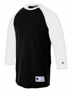 Champion T Shirt Tee Baseball Raglan Long Sleeve Tag Free Ribbed 100% Cotton Men $13.24