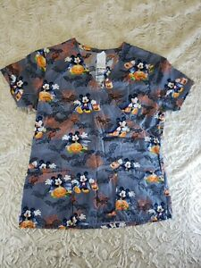 Nurses Scrub Top Halloween Vampire Trick or Treat Disney Mickey V-Neck Small