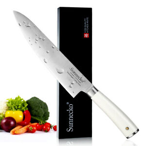 Sunnecko 8quot; 203mm Chef#x27;s Knife Sharp Meat Vegetables Slicing Cut White Handle