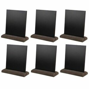 Mini Tabletop Chalkboard Signs with Wood Base (6 Pack), 6 x 5.5