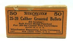 1930 Winchester 25-20 Grooved Bullets EMPTY Ammo Box Man Cave Decor 3634-NX