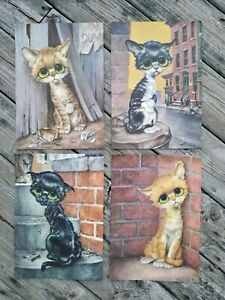 Vintage GIG Pity Kitty BIG EYES City Cat PrintsLithographsLithos FULL SET of 4