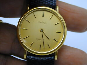 VINTAGE 1980 BULOVA PUSH SET WATCH GOLD TONE SETS BUT DOES NOT RUN AT 38 33 MM $25.00
