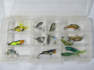 13 Ultralight Lures in Plano Storage Box Rebel Cricket Poppers Inline Spinners