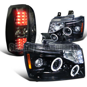 For 2007-2011 Avalanche Halo Projector Glossy Black Head+LED Smoke Tail Lights