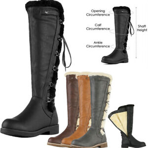 DREAM PAIRS Womens Knee High Faux Fur Lined Winter Snow Lace Up Zip Combat Boots