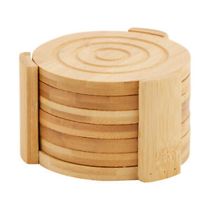 6 Pack Set Bamboo Wooden Coaster with Holder Round Cup Coasters Tan 4.3quot;