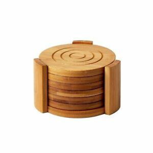 6-Pack Set Bamboo Wooden Coaster with Holder, Round Cup Coasters, Tan, 4.3