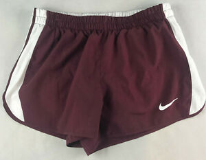 NIKE WOMENS M DRY TEMPO LINED RUNNING SHORTS MAROON 642088 670 B5