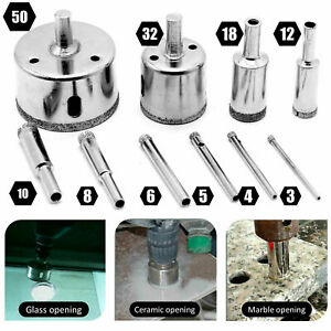 10Pcs Diamond Drill Bits for Glass Ceramic Tile Porcelain Hole Maker Saw Cutting