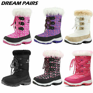 DREAM PAIRS Kids Boys Girls Snow Boots Mid Calf Waterproof Zip Winter Ski Boots $22.87