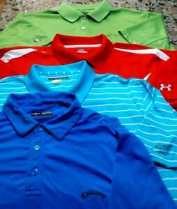 Under Armour Callaway 2 Greg Norman Men's xl lot of 4 Golf Polo Red Blue Green