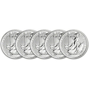 2020 Great Britain Silver Britannia £2 1 oz BU Five 5 Coins