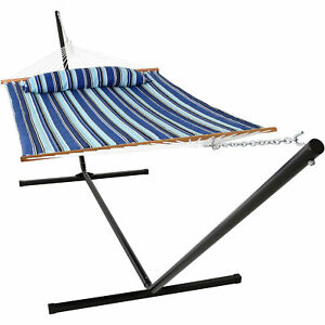 Sunnydaze Quilted Spreader Bar Hammock and 15-Foot Stand - Catalina Beach