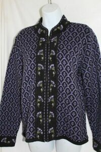 Nomadic Traders M Embroidered Norwegian Style Cardigan Sweater