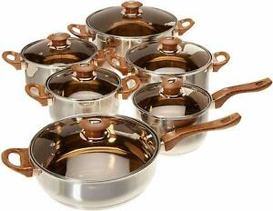 12 Pieces Stainless Steel Cookware Set Pots Sauce Pans Frying Pan Set Silver