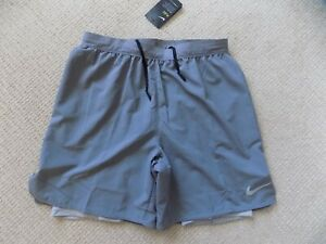 NEW MENS LARGE NIKE FLEX STRIDE GREY SILVER RUNNING SHORTS 2in1 7