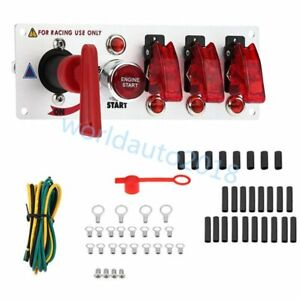 12V Auto LED Toggle Ignition Switch Panel Racing Car Engine Start Push Set Kit $29.99
