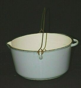 Vintage Cast Iron Dutch Oven Blue Porcelain Finish Kitchen Cookware Camping Tool