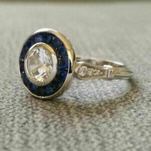 Edwardian Antique 2.60Ct Diamond amp; Sapphire Engagement Ring 14k White Gold Over