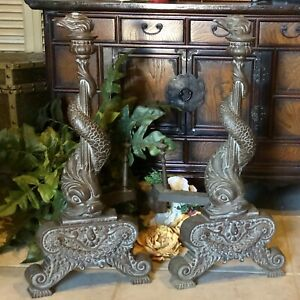 ANTIQUE Bronze Andirons Chenet Firedog Fish  Dragon  dolphin Torch flame 1800s