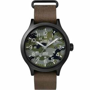 Timex Expedition Scout Brown Leather Strap Camouflage Dial Gents Watch TW4B06600