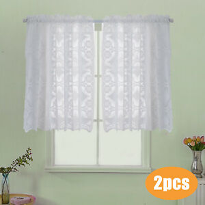 24/36'' Hopewell Heavy White Lace Kitchen Window Creative Curtain Choice of Tier