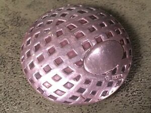 ANTIQUE STERLING SILVER  FIGURAL SNUFF BOX GOLF BALL MESH OR SQUARE DIMPLE