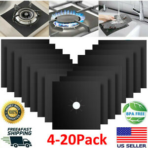 Gas Range Stove Top Burner Cover Protector Reusable Liner Clean Cook Non-stick 4