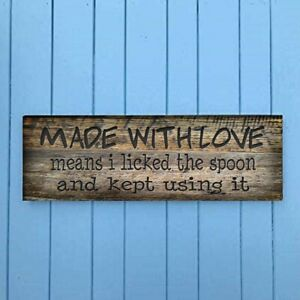 Made With Love Wood Sign Vintage Distressed Look Farmhouse Style Shelf Sitter cd